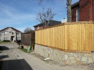 Retaining wall and fence in Plano