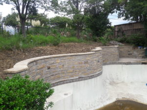 Pool retaining wall